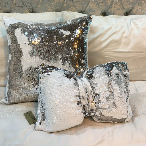 Silver and White Mermaid Bow Cushion
