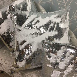 Silver and White Mermaid Sequin Cushion Large