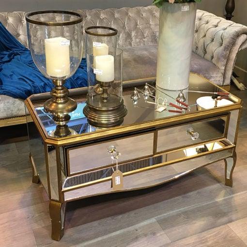 Venetian Gold 2 Drawer Mirrored Coffee Table