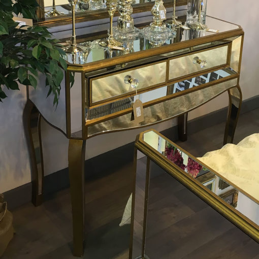 Venetian Gold 2 Drawer Mirrored Console Table