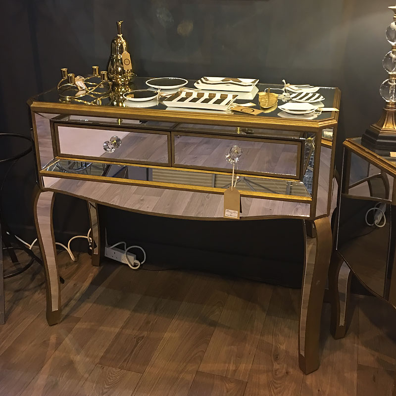Venetian Gold 2 Drawer Mirrored Console Table Picture
