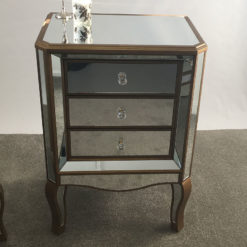Venetian Gold 3 Drawer Mirrored Bedside Cabinet