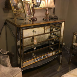 Venetian Gold Large Mirrored Chest of Drawers