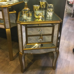 Venetian Gold Mirrored 2 Drawer Side Table