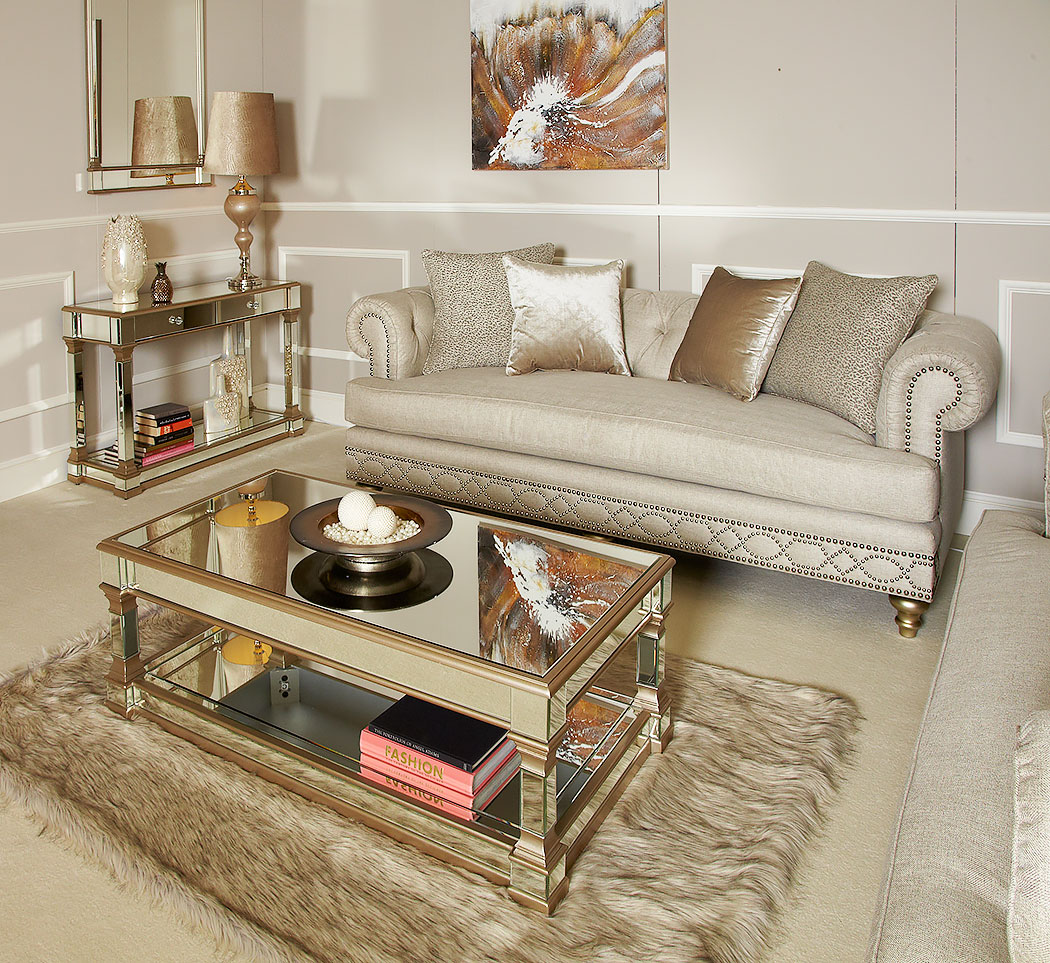 Athens Gold Mirrored Low Coffee Table