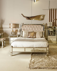 Athens Gold Mirrored Upholstered Bed End Bench With A Velvet Seat