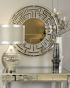 Sahara Marrakech Moroccan Silver Mirrored Dressing Console Table