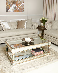 Byron Coffee Table With A Black And Gold Frame And Wood And Glass Top