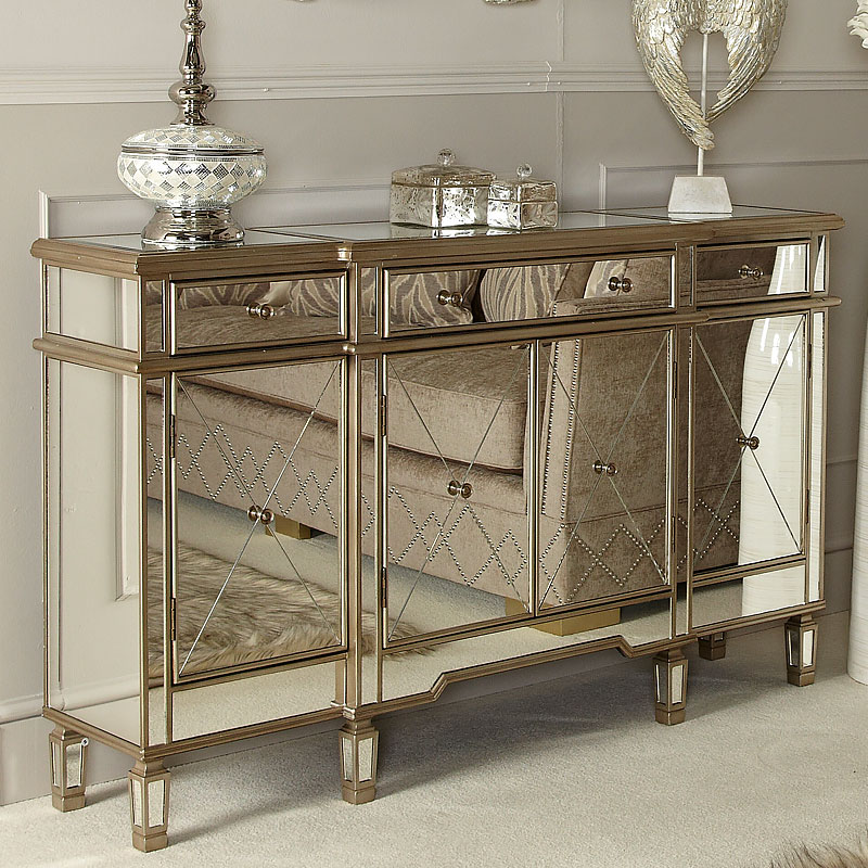 Versailles Gold Venetian Mirrored 3 Drawer 4 Door