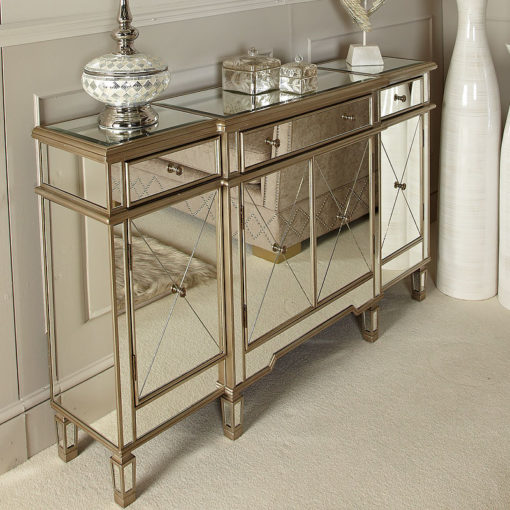 Versailles Gold Venetian Mirrored 3 Drawer 4 Door Sideboard