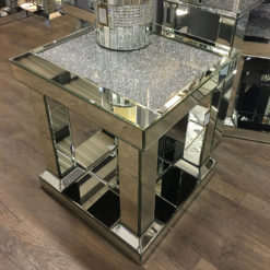 Diamond Glitz Mirrored Pillar Leg End Table