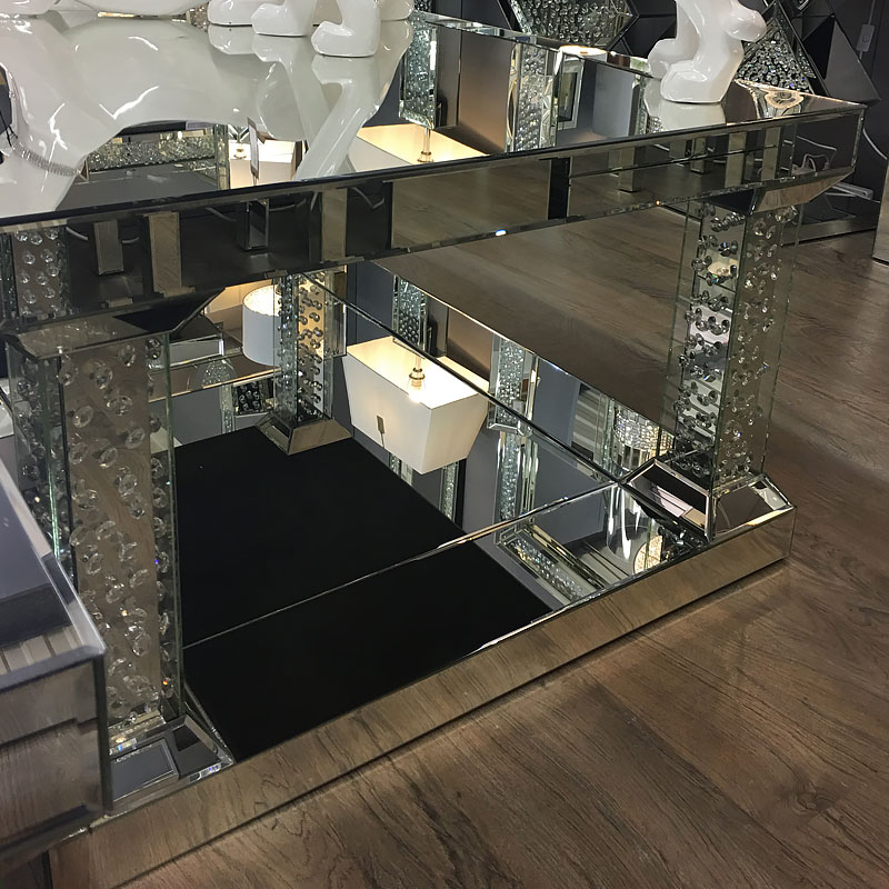 Floating Crystal Mirrored Pedestal Coffee Table