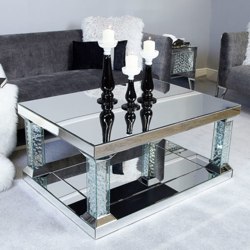 Floating Crystal Mirrored Pedestal Coffee Table - Large