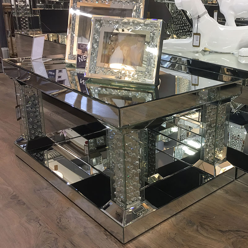 Floating Crystal Mirrored Pedestal Coffee Table Large