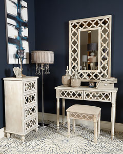 Athens Silver Mirrored 2 Drawer Console Table Dressing Table