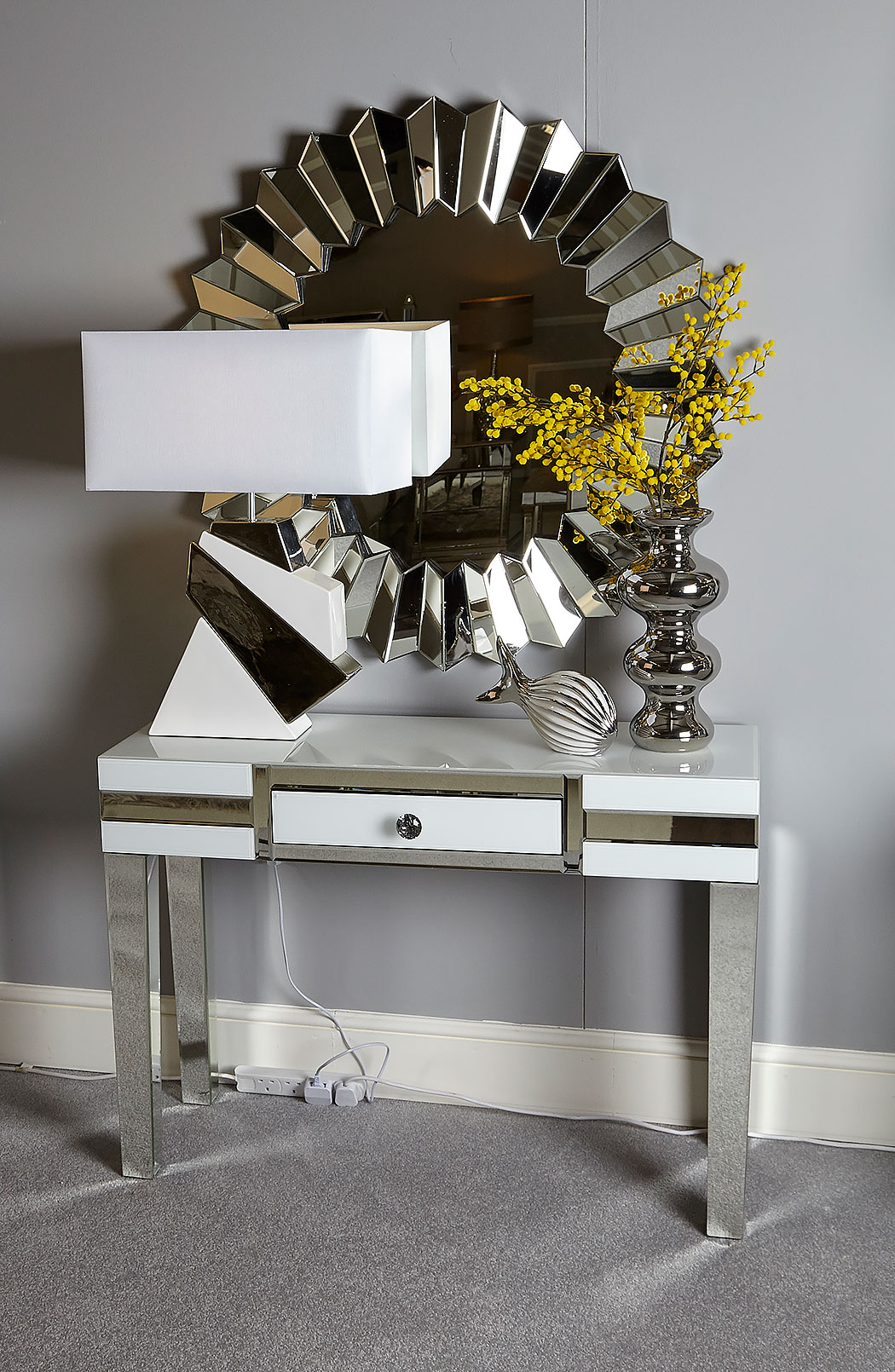 Madison White Glass Mirrored 1 Drawer Console Table