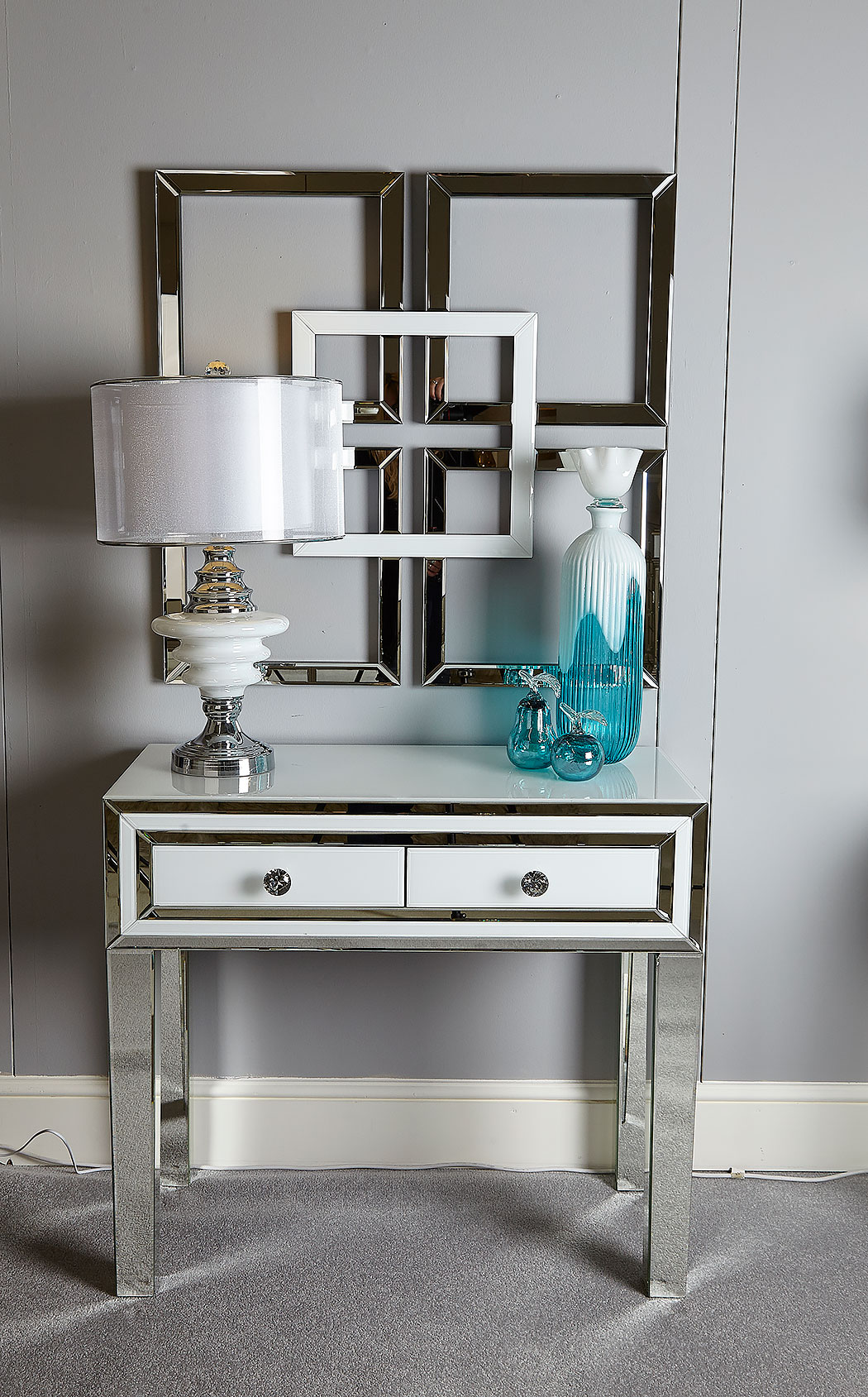 Madison White Glass Mirrored 2 Drawer Bedroom Console Dressing Table