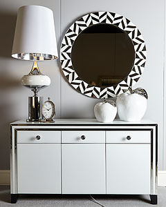 Octavia Champagne 4 Door Sideboard With Mirrored Sides And Top