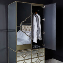 Sahara Marrakech Moroccan Gold Mirrored 2 Door 4 Drawer Wardrobe