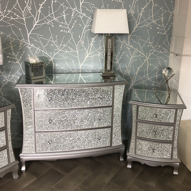Silver Mirrored Crackle Glass Bedroom Set | Picture ...