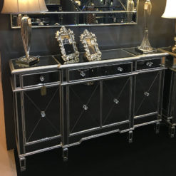 Versailles Silver Venetian Mirrored 3 Drawer 4 Door Sideboard