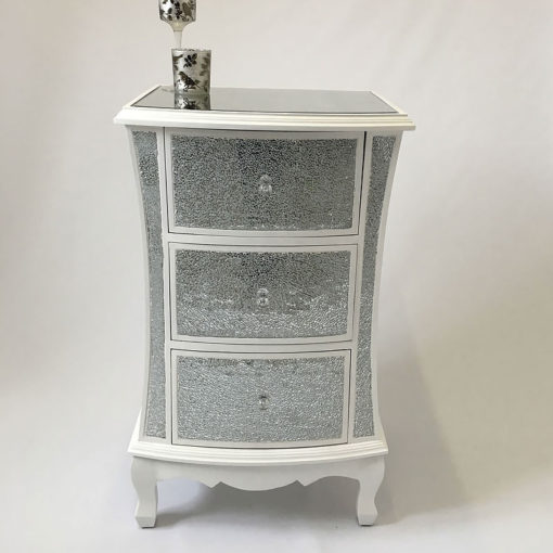 White Crackle Glass 3 Drawer Bedside Cabinet
