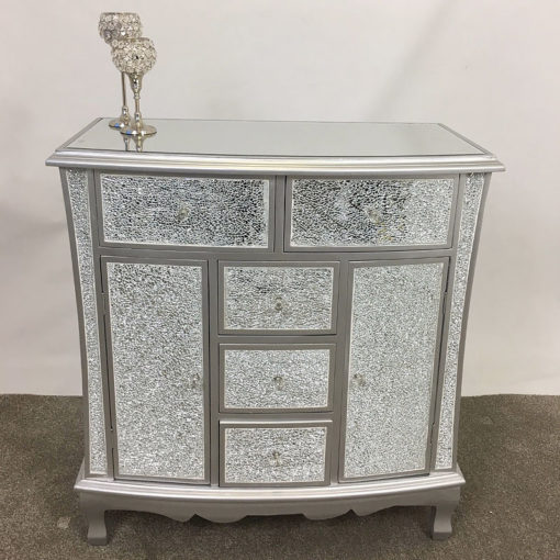 Silver Crackle Glass 5 Drawer 2 Door Chest