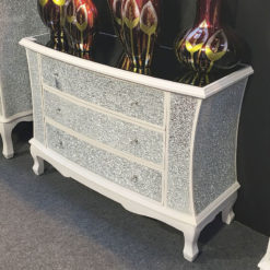 White Crackle Glass Large 3 Drawer Chest