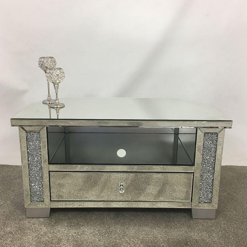 Diamond Crush Mirrored Corner Tv Cabinet Picture Perfect