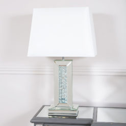 "Floating Crystal White Glass Mirrored Table Lamp 17"" Shade"