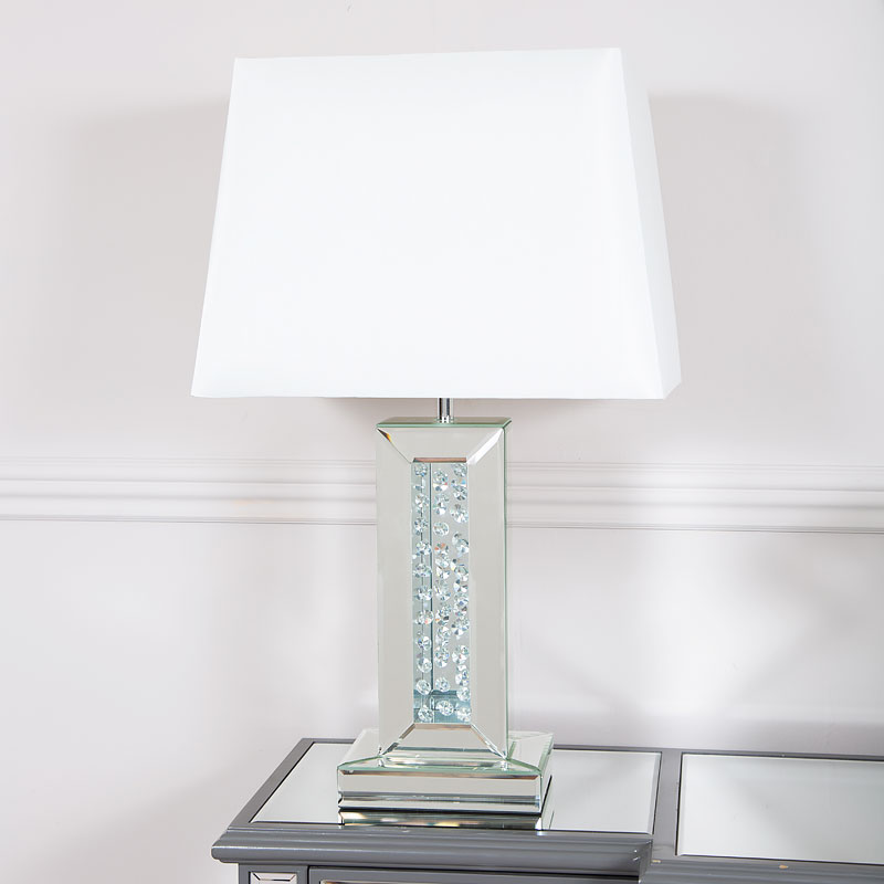 Floating Crystal White Glass Mirrored Table Lamp 17 Shade Picture Perfect Home