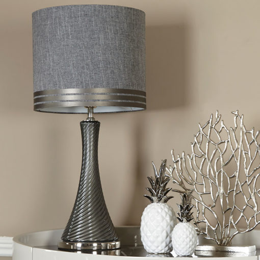 Grey Linen Pearl Swirl Table Lamp