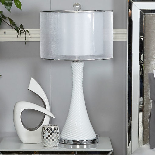 Pure White Pearl Swirl Table Lamp