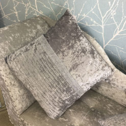 Large Silver Velvet Diamonte Banded Cushion