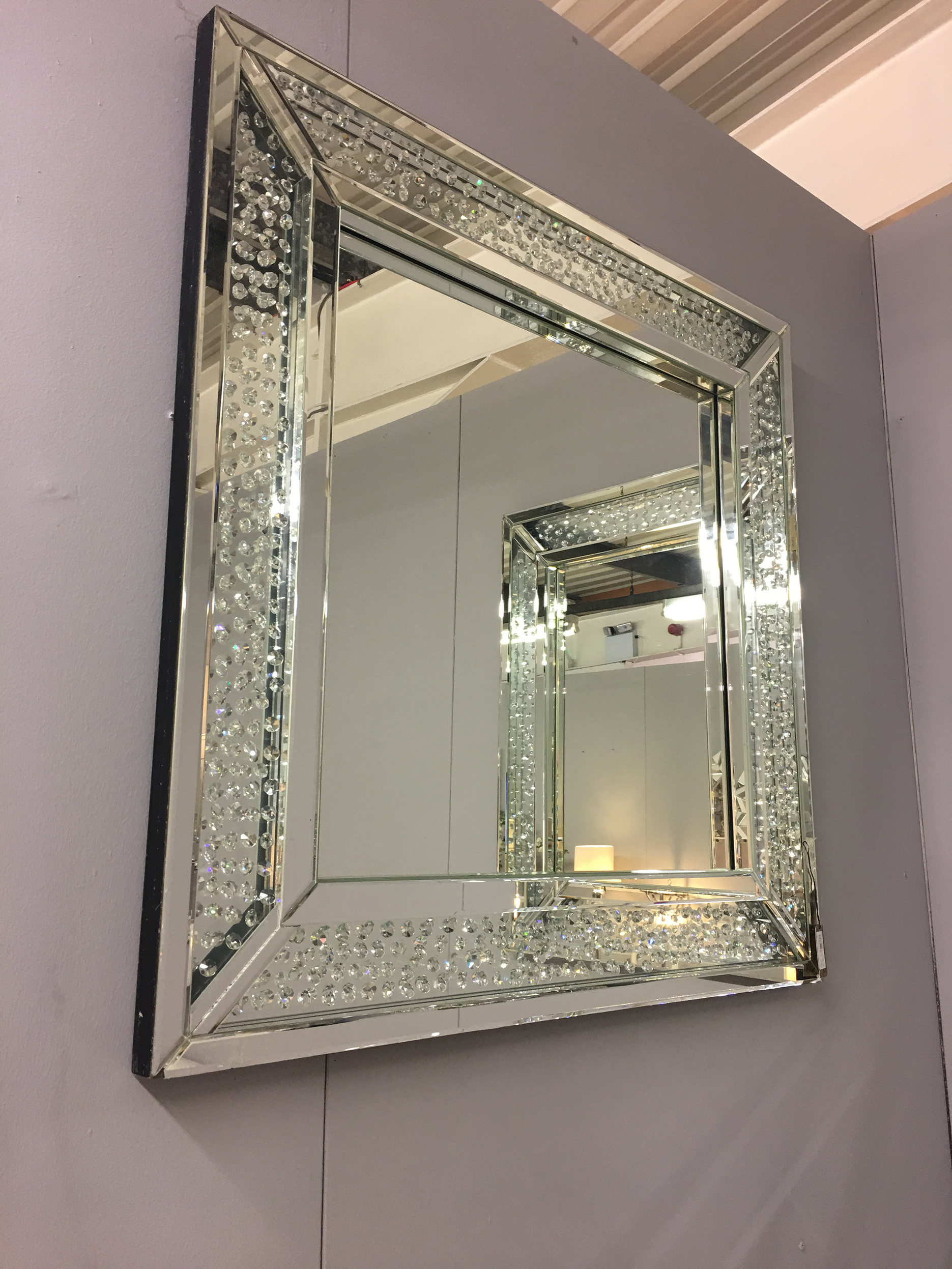 Floating Crystal Square Wall Mirror Picture Perfect Home