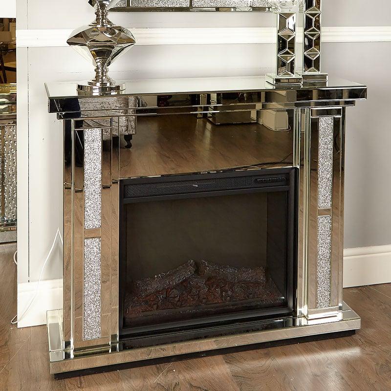 Diamond Glitz Mirrored Electric Fireplace