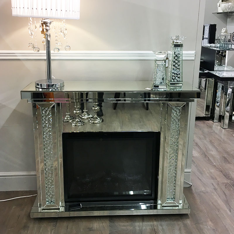 Floating Crystal Mirrored Electric Fireplace