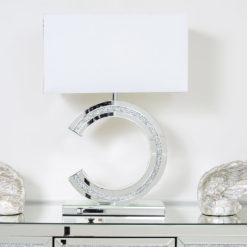 Diamond Glitz Mirrored Reverse 'C' Table Lamp Medium