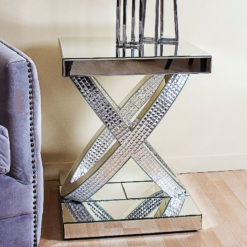 Tiffany Mirrored Double Ring End Table