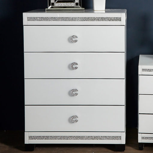 Crystalline White Mirrored 4 Drawer Chest Of Drawers