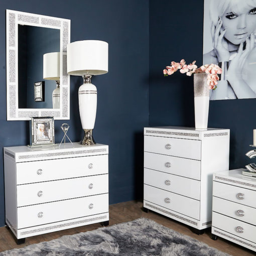 Crystalline White Mirrored 3 Drawer Chest / Bedside Cabinet