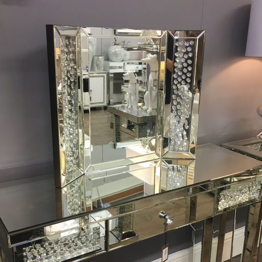 Floating Crystal Mirrored Dressing Table Bundle