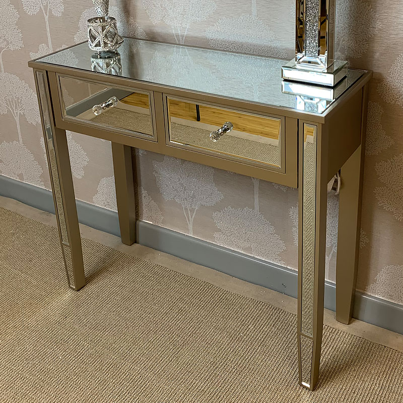 Georgia Champagne Luxe 2 Drawer Mirrored Dressing