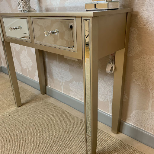 Georgia Champagne Luxe 2 Drawer Mirrored Dressing / Console Table