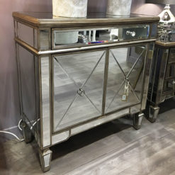 Belfry 1 Drawer 2 Door Antique Gold Mirrored Cabinet