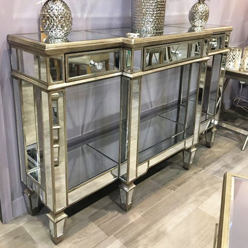 Belfry 3 Drawer Champagne Gold Mirrored Console Table
