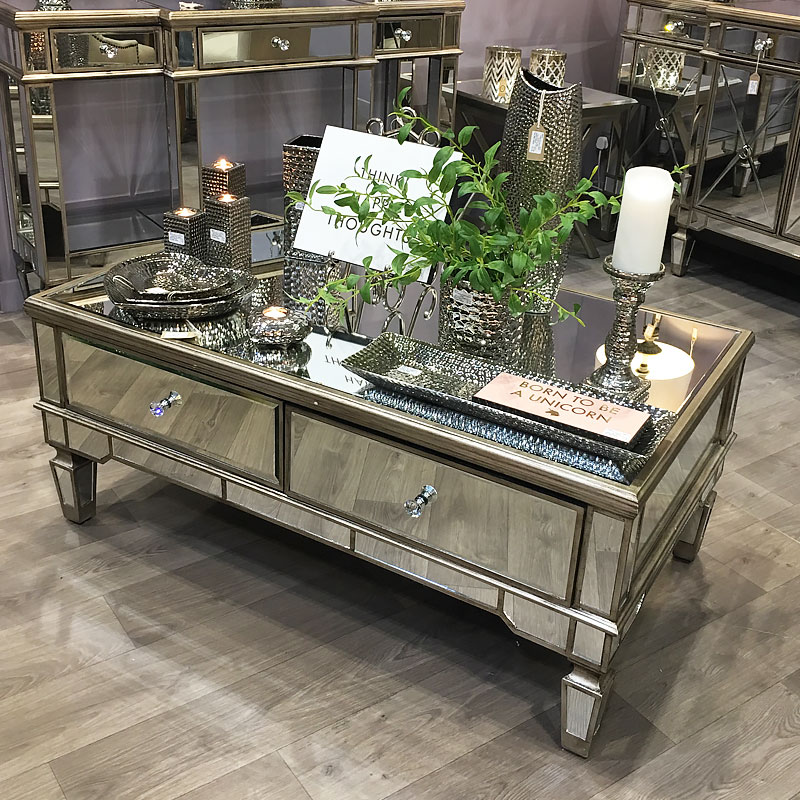 Marvelous Belfry 4 Drawer Champagne Gold Mirrored Coffee Table Dailytribune Chair Design For Home Dailytribuneorg