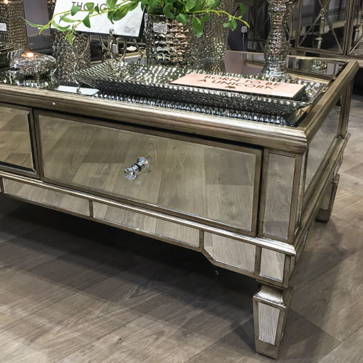 Belfry 4 Drawer Champagne Gold Mirrored Coffee Table
