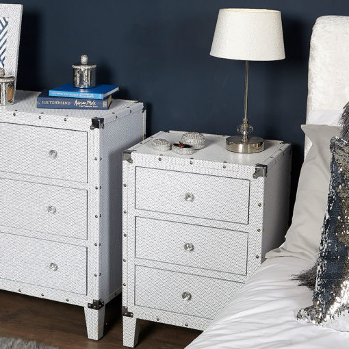 Blitz 3 Drawer Glitzy Sparkle Crystal Bedside Cabinet / Bedside Table