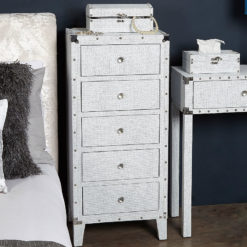 Blitz 5 Drawer White Glitzy Sparkle Crystal Tallboy Chest Cabinet